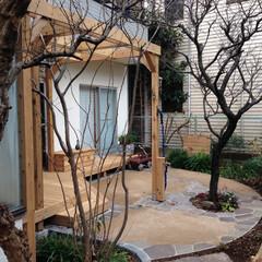 ウッドデッキ/パーゴラ/ガーデンリフォーム/リガーデン/天然石貼り/真砂土舗装/... 冬場のメンテナンス後のお庭です。春の準備…