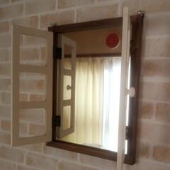 元和室/寝室/サリュ雑貨 この前買ったSalut!の鏡  設置ପ(…(4枚目)
