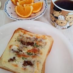定番化/おいしい/とろけるスライスチーズ/粒マスタード/マヨネーズ/バター/... 休日の朝ごぱんシリーズ😆 2枚目の画像か…