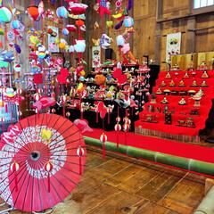 ピンク/桃の節句/和傘/お雛様/つるし雛 桃の節句に和傘を添えて!