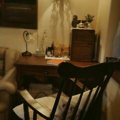 ドライフラワー/ランプ/古い家具/ロッキングチェア/DIY/住まい ダイニングの隅っこに私のスペース(*^-…