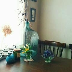 ダイニングテーブル/ガラスボウル/空き瓶/庭の花/グリーン お部屋にグリーンや、花を飾るのが好きで我…