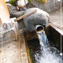 人気のお水/タヌキが目印/井戸水/桃/生活の知恵 タヌキの井戸水場~(*´ω`*)♡ 帰り…