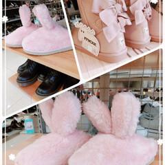 ピンク/ふわふわ/モコモコ/ブーツ/おでかけ/ファッション/... うさぎの耳🐰リボン🎀ピンク♡ 可愛いでし…