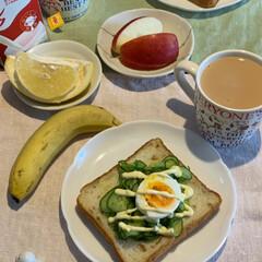 LIMIAファン/紅茶/朝食/ふたりごはん/パン/フォロー大歓迎 おはようございます😊  今日の朝食  今…