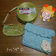 bag作成中/ハンドメイド/ククリナ・ ビニール紐 編み物 苦手^^;💦な 私なのですが 作…
