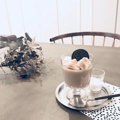 スイーツ/デザート/カフェ/コーヒー/ゼリー/マシュマロ/... ミルクティーをゼリーにしました。 ゼリー…