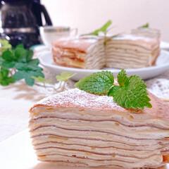 スイーツ/今日のおやつ/手づくりお菓子/ミルクレープ/フォロー大歓迎/リミアの冬暮らし 休日のおやつに ミルクレープ作りました🥰(2枚目)