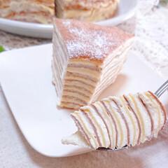 スイーツ/今日のおやつ/手づくりお菓子/ミルクレープ/フォロー大歓迎/リミアの冬暮らし 休日のおやつに ミルクレープ作りました🥰(5枚目)