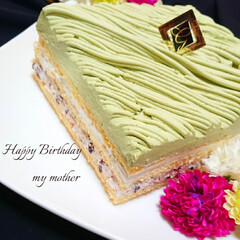 ふわふわ/しっとり/スポンジケーキ/手作りケーキ/スクエアケーキ/抹茶小豆/... 今日は母の誕生日なので 抹茶小豆ケーキ作…(1枚目)