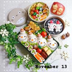冬仕様/クリスマス弁当/高校生男子弁当/女子高生弁当/息子弁当/娘弁当/... 今日の娘と息子のお弁当です😃