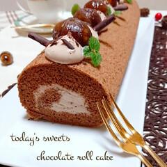 秋スイーツ/手作りお菓子/お菓子作り/手作りロールケーキ/チョコケーキ/ロールケーキ/... 休日のおやつに チョコロールケーキ作りま…