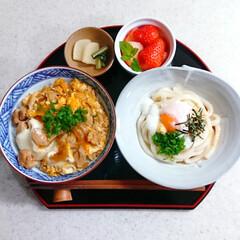 和食/ランチ/お昼ごはん/おうちごはん/ぶっかけうどん/親子丼 今日のお昼ごはんです😃