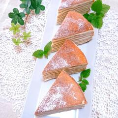スイーツ/今日のおやつ/手づくりお菓子/ミルクレープ/フォロー大歓迎/リミアの冬暮らし 休日のおやつに ミルクレープ作りました🥰(3枚目)