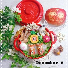 りんご/トナカイ/女子高生弁当/娘弁当/クリスマス2019/お弁当/... 今日の娘弁当です😃