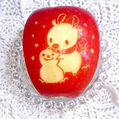 手作り弁当/りんご飾り切り/スノーマン/スノーマン弁当/クリスマス弁当/クリスマス/... スノーマンで本日のお弁当です❤️(5枚目)