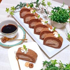 手作りおやつ/おやつ/今日のおやつ/手作りスイーツ/お菓子作り/チョコスイーツ/... チョコロールケーキ 作りました❤️