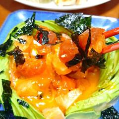 餃子/お酒がすすむ/お酒好き/ニンニク料理/キムチ/海鮮ユッケ/... 本日の夜ご飯です❤️ 手作り餃子 海鮮ユ…(4枚目)