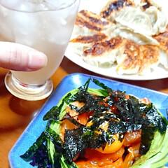 餃子/お酒がすすむ/お酒好き/ニンニク料理/キムチ/海鮮ユッケ/... 本日の夜ご飯です❤️ 手作り餃子 海鮮ユ…(3枚目)