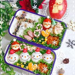 手作り弁当/りんご飾り切り/スノーマン/スノーマン弁当/クリスマス弁当/クリスマス/... スノーマンで本日のお弁当です❤️(1枚目)