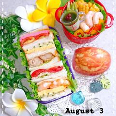 お弁当/ランチ/お昼ごはん/抹茶プリン/ミニ計量カップ/夏弁当/... 今日の娘弁当です😃