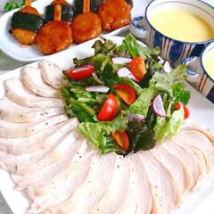 五平餅/夜ご飯/手作りごはん/サラダチキン/鶏ハム 昨日の夜ご飯です😅