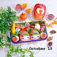 りんご飾り切り/手作り弁当/おうちごはん/ランチ/お弁当/お昼ごはん/... 今日の娘弁当です❤️ 生ハムおにぎりでず…
