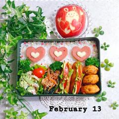 飾り切り/りんご/バレンタイン弁当/高校生男子弁当/息子弁当/お弁当/... 今日の息子のお弁当です😃