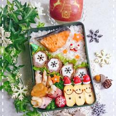 クリスマス/りんご/肉巻き/はんぺん/高校生男子弁当/息子弁当/... 今日の息子のお弁当です😃