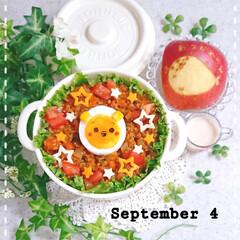りんご飾り切り/お昼ごはん/手抜き弁当/簡単弁当/手作り弁当/タコライス弁当/... 今日の娘弁当です😃
