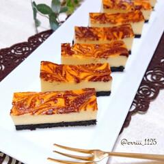 手作りお菓子/手作りおやつ/マーブルチーズケーキ/スティックチーズケーキ/ベイクドチーズケーキ/チーズケーキ マーブルチーズケーキ作りました❤️
