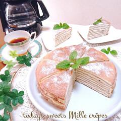 スイーツ/今日のおやつ/手づくりお菓子/ミルクレープ/フォロー大歓迎/リミアの冬暮らし 休日のおやつに ミルクレープ作りました🥰