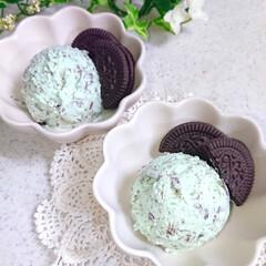 手作りアイス/チョコミント好き/チョコミン党/チョコミントアイス/チョコミント/おうちごはん チョコミントアイス作りました✨