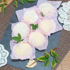 手作りお菓子/手作り大福/フルーツ大福/桃大福/桃/大福/... 桃のコンポートと カスタードクリームで …
