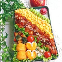 鶏チリ/ラディッシュ/飾り切り/りんご/ガッツリ弁当/ボリューム弁当/... 今日の息子弁当です😃
