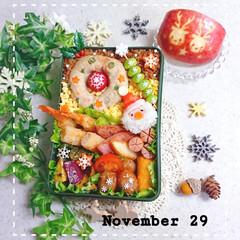 りんご/サンタさん/クリスマス/リース/高校生男子弁当/息子弁当/... 今日の息子のお弁当です😃