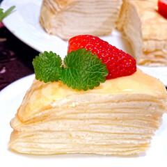 ディプロマットクリーム/生クリーム/カスタードクリーム/手作りクレープ/本日のおやつ/今日のおやつ/... 久しぶりに シンプルなミルクレープ 作り…(3枚目)