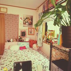かわいいインテリア/カラフルインテリア/花柄/ベッドルーム/住まい/暮らし