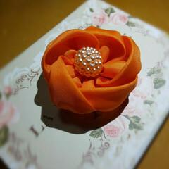 ORANGE/brooch/オレンジ/アクセサリー/accessory/handmadeaccessory/... オレンジ可愛いブローチ作りました。