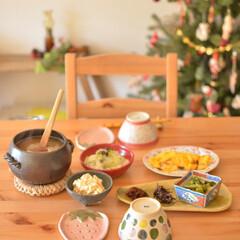 クリスマスインテリア/ナチュラルインテリア/転勤族/二人暮らし/朝ごはん/テーブル/... 我が家のテーブルはIKEAのものです。 …