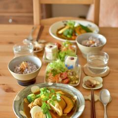 二人暮らし/ごはんづくり/料理好き/おうち時間/おうちカフェ/お昼ごはん/... お昼ごはんにスープカレー作りました♪ 実…(1枚目)