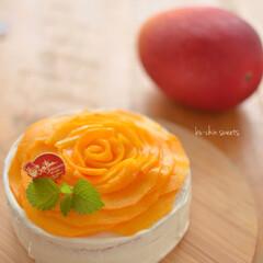 料理写真/おやつタイム/ショートケーキ/手作りスイーツ/料理好き/マンゴーケーキ/... 美味しそうなマンゴーのお裾分けをもらった…