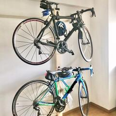 転勤族/二人暮らしのインテリア/インテリア/ラブリコ活用/原状回復/賃貸インテリア/... 我が家の自転車収納♪  二台のせるのは自…