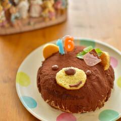 くまケーキ/結婚記念日/誕生日ケーキ/ケーキ作り/ティラミス/キャラケーキ/... この時は結婚記念日なのですが…  毎年私…