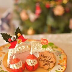 二人暮らし/手作りケーキ/いちごサンタ/クリスマスケーキ/おうちカフェ/LIMIAごはんクラブ/... 昨日残りのクリスマスケーキ^^;  サン…