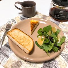 ZERO JAPAN カフェプレートL CFZ-08 COC・ココナッツ | ZERO JAPAN(皿)を使ったクチコミ「朝食の記録  トースト 甘夏のサラダ チ…」(1枚目)