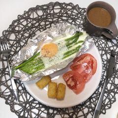 ZERO JAPAN カフェプレートL CFZ-08 WH・ホワイト | ZERO JAPAN(皿)を使ったクチコミ「朝ごはんの記録  フライパンは使わずにオ…」(1枚目)