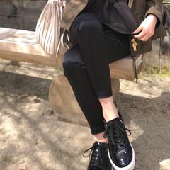 coordinate/fashion/スニーカー/admiral/ファッション ブラックコーデの日  エナメルのスニーカ…