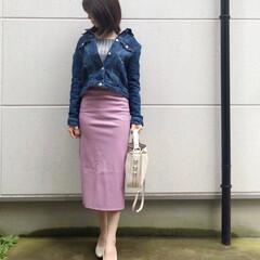 デニムジャケット/ootd/fashion/ファッション デニムにタイトなスカートを合わせると大人…