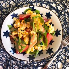 ダイエット/オーロラソース/サラダ/おうちごはん/暮らし 朝ごはんの記録  サラダをボリューミーに…